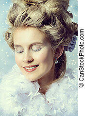 smiling ice queen - Beautiful young lady in a historical...