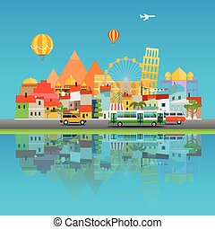 Around the world concept. Asia cityscape Vector travel illustration