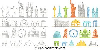 Famous buildings silhouettes collection. Lineart...