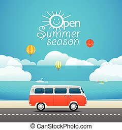Vacation travelling concept. Flat design illustration. Open...