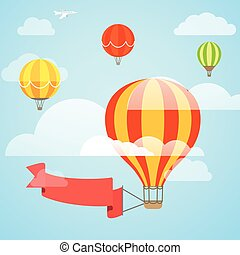 Flying color ballon with the banner Template for a text