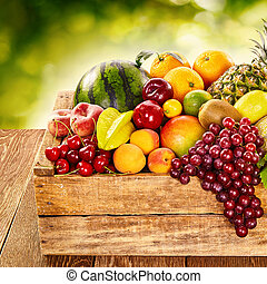 Delicious display of healthy fresh organic fruit in a wooden...