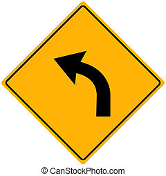 Image of a yellow sign with a curved arrow.
