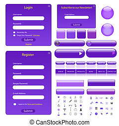 Purple web template with forms, buttons, bars and many icons...