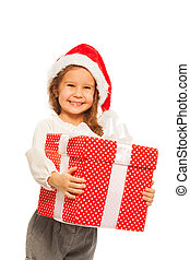 Smiling happy girl with big present isolated - Happy close...