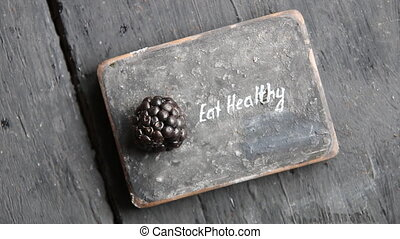 Eat heathy text. Fruit diet, dieting, nutrition, vegetarian...
