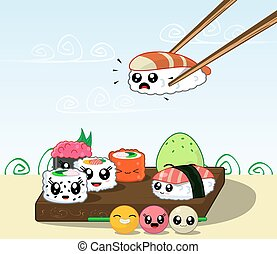 Fun cartoon Japanese cuisine, food. Illustration set of...