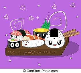 Vector illustration of cute kawaii cartoon rolls and sushi...