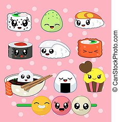 Sushi roll set. Happy sushi characters.