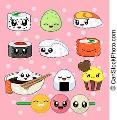 Sushi roll set Happy sushi characters - Cute kawaii sushi...
