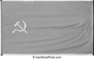 Flag of the Soviet Union in black and white - National flag...