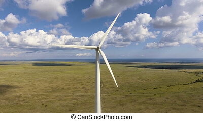 Aerial view from drone on the wind turbine. - Aerial view...