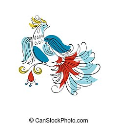 Fantasy Firebird in Russian ornamental style - vector...