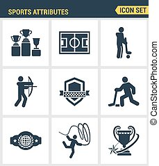 Icons set premium quality of sports attributes, fans...