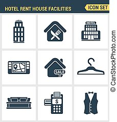 Icons set premium quality of hotel service amenities, rent house facilities. Modern pictogram collection flat design style symbol . Isolated white background