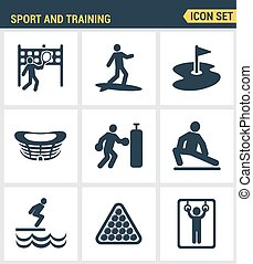 Icons set premium quality of outdoor sports training, various athletic activity Modern pictogram collection flat design style symbol . Isolated white background