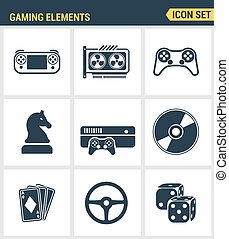 Icons set premium quality of classic game objects, mobile gaming elements. Modern pictogram collection flat design style symbol . Isolated white background
