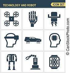 Icons set premium quality of future technology and artificial intelligent robot. Modern pictogram collection flat design style symbol . Isolated white background