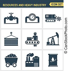 Icons set premium quality of heavy industry, power plant,...