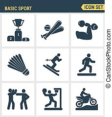 Icons set premium quality of basic sport and sports development   training. Modern pictogram collection flat design style symbol . Isolated white background