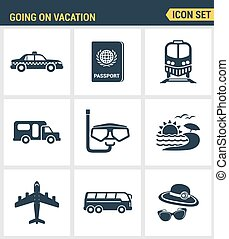 Icons set premium quality of going vacation icon summer...