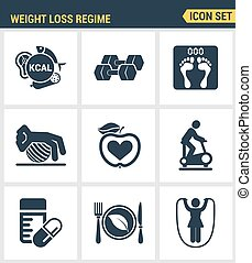 Icons set premium quality of weight loss regime fitness...