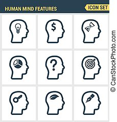 Icons set premium quality of human mind features, characters...
