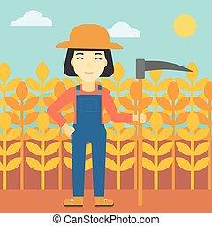 Female farmer with scythe vector illustration - An asian...