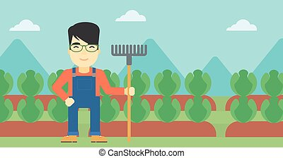 Farmer with rake vector illustration - An asian friendly...
