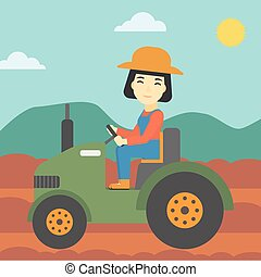 Female farmer driving tractor vector illustration. - An...