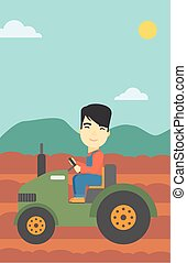 Farmer driving tractor vector illustration - An asian farmer...