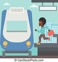 Latecomer man running for the train - An african-american...