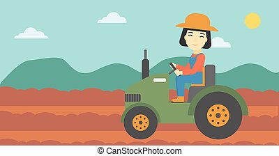 Female farmer driving tractor vector illustration - An asian...