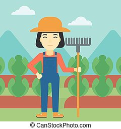 Female farmer with rake vector illustration - An asian...