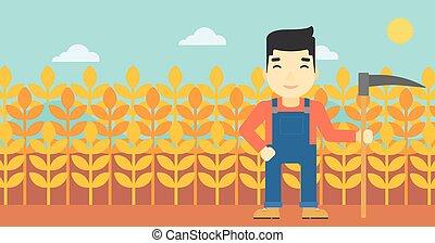 Farmer with scythe vector illustration - An asian farmer...
