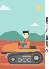 Farmer driving tractor vector illustration. - An asian...