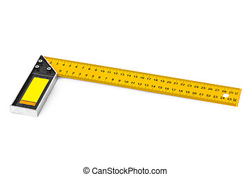 Construction square triangle ruler isolated on white...