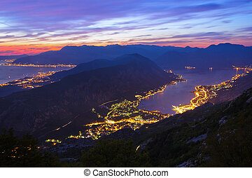 Kotor Bay on sunset - Montenegro - nature and architecture...