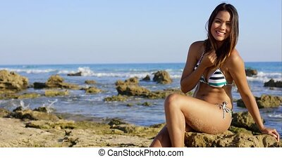 Sexy young woman sitting on rocks at the seaside - Sexy...
