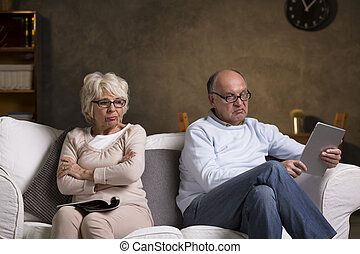 Going through silent days in their marriage - Elderly couple...