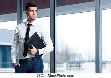 Male elegance at work - Young, elegant businessman in an...