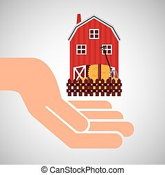 farm countryside hand holding design - farm countryside hand...