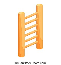 Wooden vertical ladder icon, cartoon style - Wooden vertical...