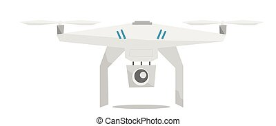 Flying helicopter with camera vector illustration.