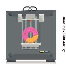 Tree D printer vector illustration. - Tree D printer making...