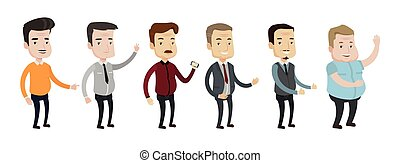 Vector set of middle aged man illustrations. - Set of...