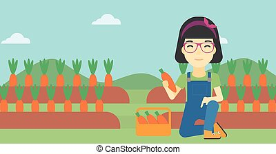Farmer collecting carrots vector illustration - An asian...