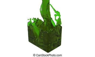 green fluid fills up a rectangular container