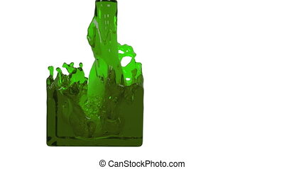 green liquid fills up a rectangular container - close-up...