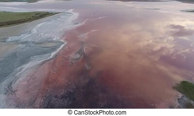 flying over a pink lake - salt lake with rose water and...
